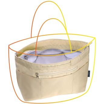 C two Q バッグインバッグ インナーバッグ 軽量 自立 大容量 収納 バッグ レディース メンズ (Mサイズ, 1.ベージュ)