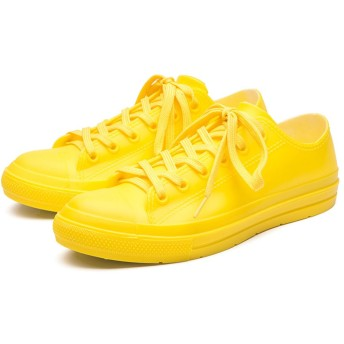 [Banlan] レインブーツ レディース ショート レインシューズ スニーカー 晴雨兼用 7色展開 雨靴 長靴 梅雨 スニーカーみたい スニーカー風 レインシューズ (37(23.5CM), 黄色い)