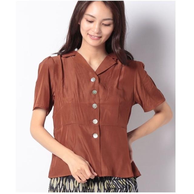 Melan Cleuge オープンカラーペプラムシャツ(オレンジ)【返品不可商品】