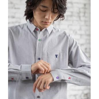 【15%OFF】 コーエン オックスフォードクレイジーボタンレギュラーカラーシャツ メンズ MDGRAY X-LARGE 【coen】 【タイムセール開催中】