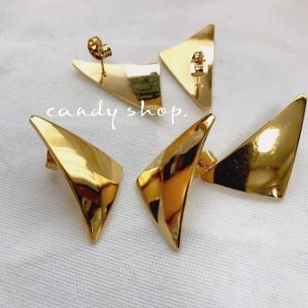 ステンレススチール 1pair triangle pierce gold