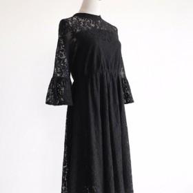 ワンピース レース 刺繍 ラッパ袖 スカート ブラック 結婚式 パーティー ロング丈 005