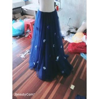 上品なネイビーオーバードレス、色変更無料 ウエディングドレス用オーバースカート、お色直し 四層チュール