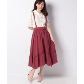(axes femme/アクシーズファム)サス付き裾切替ミディスカート/レディース 赤