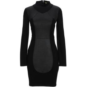 《セール開催中》VERSACE JEANS レディース ミニワンピース&ドレス ブラック 40 ポリエステル 100% / レーヨン / ナイロン / ポリウレタン
