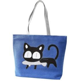 [Beepoo] レディース トートバッグ キャンバス 収納 人気 猫飾り ショルダーバッグ アニマル かわいい ブルー
