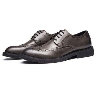 [ジョイジョイ] ビジネスシューズ メンズ ウィングチップ カジュアル ローカット 消臭 衝撃吸収 軽量 ワーク 通勤 大きいサイズ レースアップ 革靴 紳士靴 履きやすい フォーマル 滑り止め 防水 カーキ