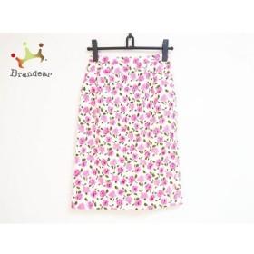 オスカーデラレンタ スカート サイズ9A3 レディース アイボリー×ピンク×ダークグリーン 花柄   スペシャル特価 20191106