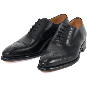 [Berwick] バーウィック ストレートチップ 内羽根 メタリオン ブラック レザーソール 紳士靴 革靴 メンズシューズ カーフレザー素材 (UK6.5, 黒)
