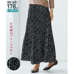 トールサイズ 花柄消しプリーツマキシスカート 【高身長・長身】ロング丈・マキシ丈スカート,tall