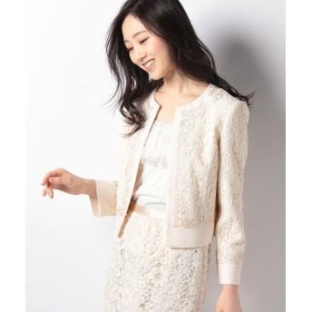 アナイ コードレース+ドビー刺繍ジャケット レディース オフホワイト 38 【ANAYI】