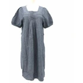 【中古】トレコトン Tres coton スモック刺繍ワンピース プルオーバー 五分袖 ひざ丈 シャンブレー インディゴ