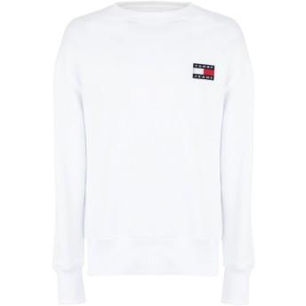《期間限定セール開催中!》TOMMY JEANS メンズ スウェットシャツ ホワイト S コットン 100% TJM TOMMY BADGE CREW
