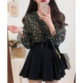 ミニスカート シフォン ショート丈 Aライン 大きいサイズ プリーツ きれいめ 夏黒 ホワイト アプリコット