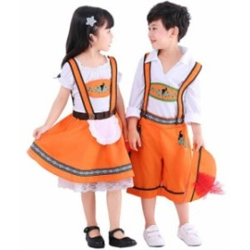 カボチャ ハロウィン コスプレ キッズ ダンス衣装 パンプキン 2点セット スカート 子供用 コスチューム かぼちゃ 仮装 キャラクター衣装