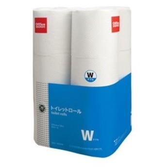 (まとめ)オフィスデポ オリジナル トイレットペーパー ダブル 30m 1梱包(12ロール×8パック)【×2セット】