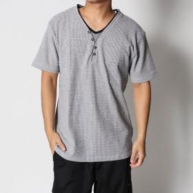 スタイルブロック STYLEBLOCK MIXワッフルフェイクレイヤード5ボタンYヘンリーネック半袖Tシャツカットソー (MIXグレー)