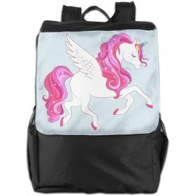 ピンクの髪と星ユニセックスカジュアルショルダーバッグホワイトユニコーン