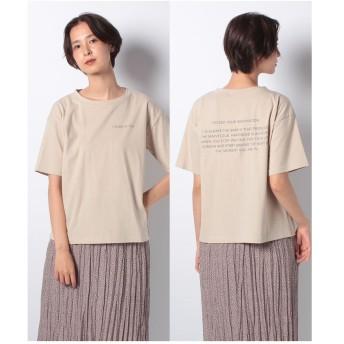 ehka sopo ロゴプリントTシャツ(ベージュ)【返品不可商品】