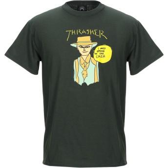 《9/20まで! 限定セール開催中》THRASHER メンズ T シャツ ダークグリーン M コットン 100%