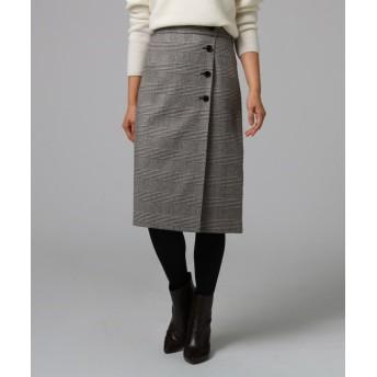 UNTITLED グレンチェック フロントボタンスカート