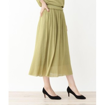 グローブ ◆レーヨンすかし編みニットスカート レディース グリーン(022) 02(M) 【grove】