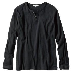 ランダムテレコヘンリーネック長袖Tシャツ Tシャツ・カットソー