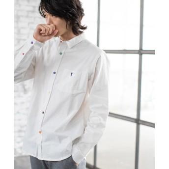 【15%OFF】 コーエン オックスフォードクレイジーボタンレギュラーカラーシャツ メンズ WHITE LARGE 【coen】 【タイムセール開催中】