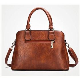 CXUNKK Ms. 2019 new fashion handbags shoulder slung retro oil wax leather bag (Color : Brown, Size : 332213cm)
