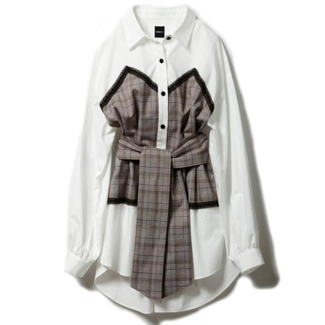 【ドロシーズ/DRWCYS】 グレンチェックレイヤードオーバーシャツ