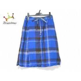 パラスパレス 巻きスカート サイズ0 XS レディース ブルー×ブラウン×アイボリー チェック柄 新着 20190731