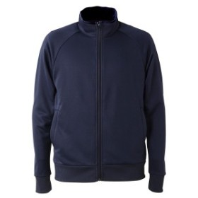 UVカット・吸汗速乾・ドライジャージパイルフルジップラグランスリーブジャケット ネイビー M