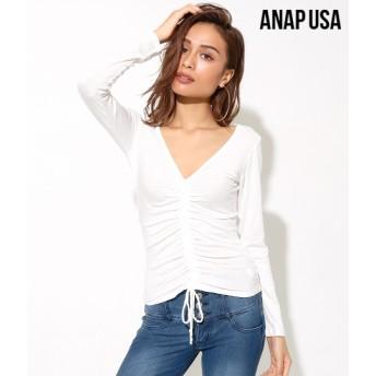 【セール開催中】ANAP(アナップ)センターギャザーVネックカットトップス