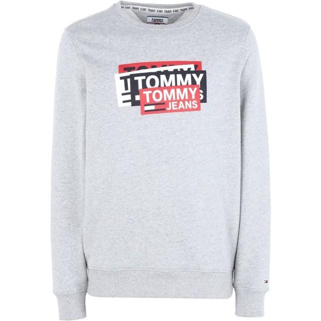 《期間限定セール開催中!》TOMMY JEANS メンズ スウェットシャツ グレー S コットン 100% TJM MULTI CORP LOGO