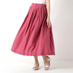 スカート レディース ロング ウエストタックギャザースカート 「ダークパープル」