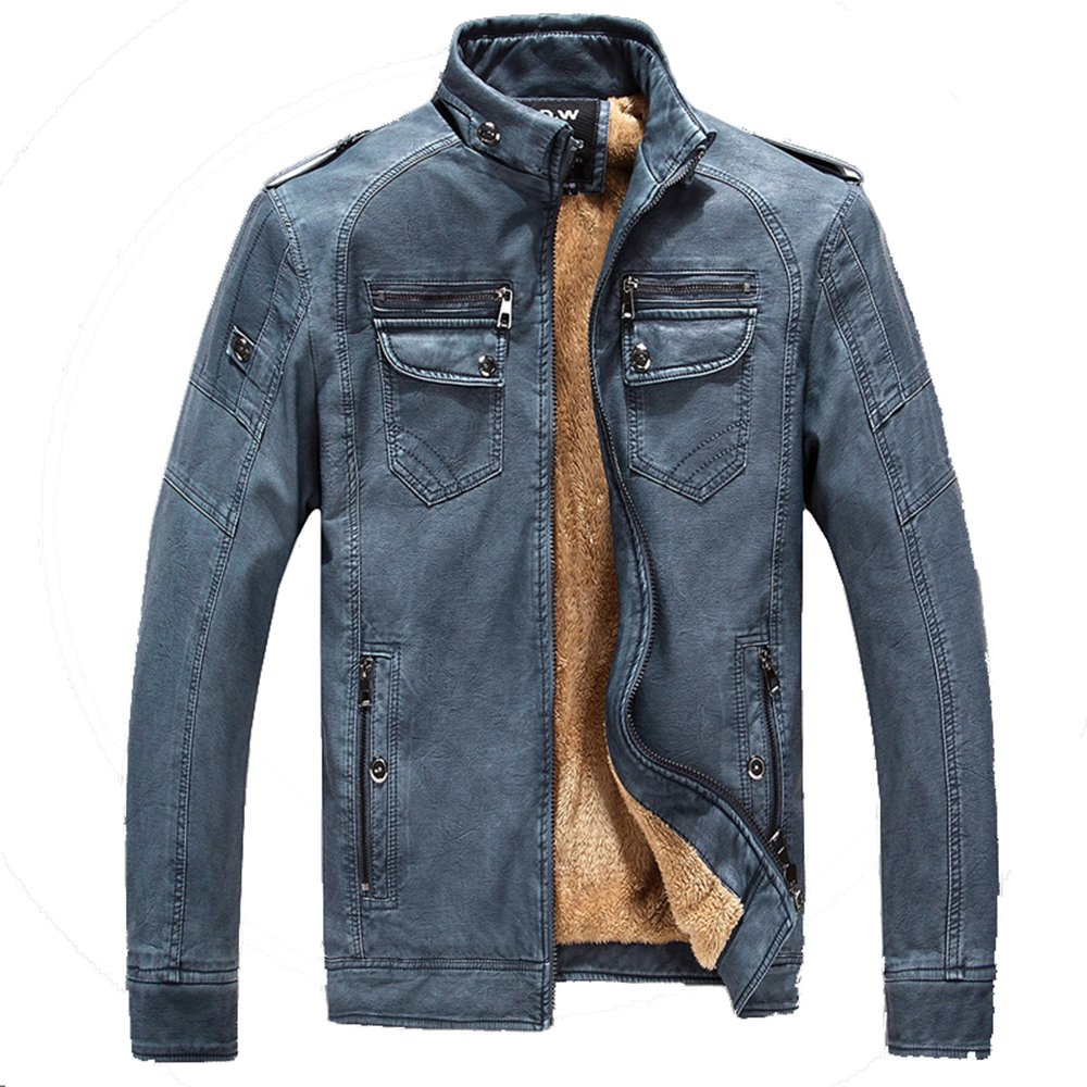 BaronHong Mens Stand Collar Pu Leather Stylish Youth Motorcycle Jacket with Velvet Inner