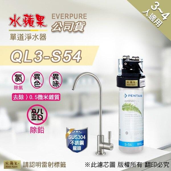 【水蘋果快速到貨~免費安裝】水蘋果公司貨 EVERPURE QL3-S54 單道淨水器