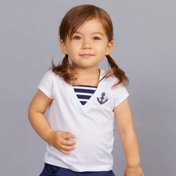 ミキハウス セーラーカラー うさこ半袖Tシャツ 白
