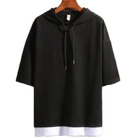 GRESS メンズ 7分袖 Tシャツ ストリート パーカー プルオーバー 七分袖 おしゃれ x983