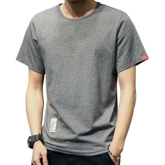 Kawayo Tシャツ メンズ 半袖 カジュアル tシャツ カットTシャツ 無地 丸首 おしゃれスポーツtシャツ 綿 シンプル 夏トップス 通勤 通学-2XL