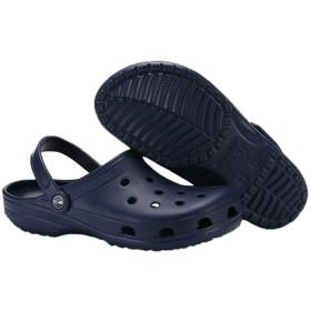 [VIAMN] サンダル 軽量 おしゃれ 疲れない滑り止めの男性と女性の穴の靴ビーチスリッパ (24.5, ダークブルー)