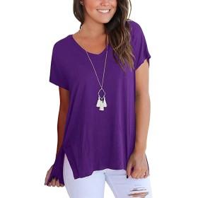 chenshiba-JP レディースVネック半袖ルースソリッドサイドスプリットハイ低Tシャツ Purple XL