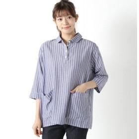 シャツ ブラウス レディース 柔らかな綿100%フランス綾素材のプルオーバーシャツ 「ネイビー」