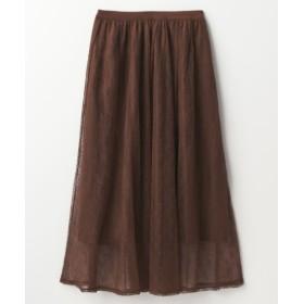 チュールレース花柄ロングスカート (ロング丈・マキシ丈スカート),skirt