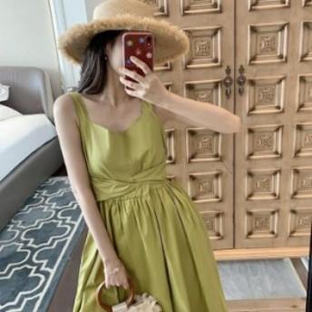 【レディース春夏】カジュアル フェミニン ミセス ママコーデ リゾートファッション 大人かわいい スクエアネック ミモレ丈ワンピース ワ