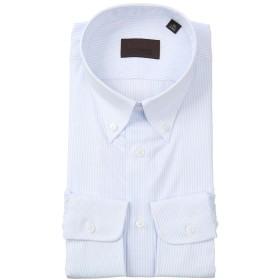 (ユニバーサルランゲージ) COOL MAX/ボタンダウンカラードレスシャツ ストライプ サックスブルー×ホワイト 37