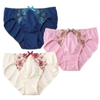 蝶柄線画刺しゅうショーツ3枚組 スタンダードショーツ,Panties