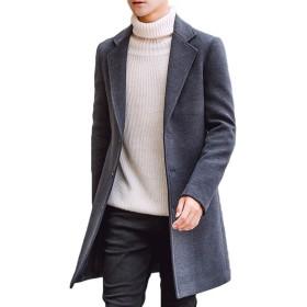 Navvour メンズロングトレンチコートシンプルカジュアルアウター春秋冬暖かいスリムジャケット紳士服