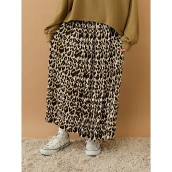 【5,000円以上お買物で送料無料】レオパードプリーツスカート