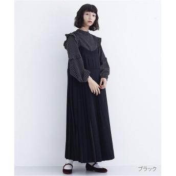 メルロー プリーツキャミワンピース7885 レディース ブラック FREE 【merlot】